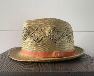 Straw Fedora with leather details