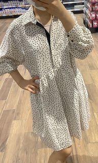 ZARA polka dot white dress