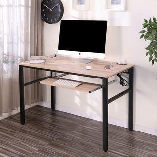 免運~低甲醛漂流木色防潑水120公分附插座單鍵盤架穩重工作桌  I-CH-DE083WO-K  電腦桌 書桌