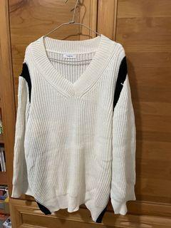 開衩黑白長版針織衫