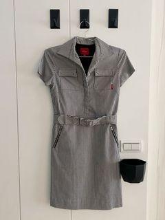 直條紋連身裙、工作連身裙、連身襯衫裙