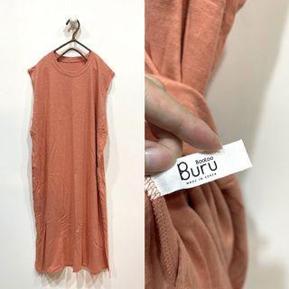 (全新)韓國製品粉膚色無袖棉質洋裝