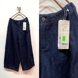 (全新)日系新款單寧牛仔設計款寬褲,澎澎的超可愛