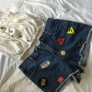 美式復古部章牛仔短褲
