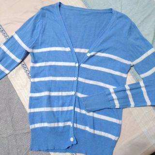 [購物免費送] 條紋長袖外套 水藍清涼色