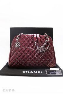 👏👏貨主減價👏👏 CHANEL A50558 Large Mademoiselle Bag 紫紅色菱格車線漆皮 銀色雙CC Logo吊飾 手挽袋 肩背袋 購物袋 手袋 (特價 : HK$13,800 ->->減至->-> HK$9,980)