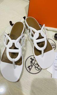 全新 Hermes beach sandal 白色涼鞋 38號 法國官網購入附購證