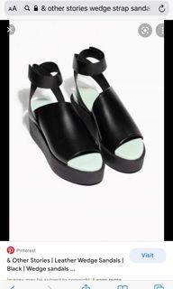 & OTHER STORIES LEATHER WEDGE SANDALS