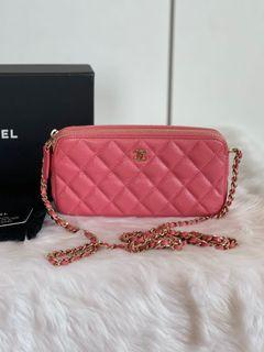 Authentic Chanel 2 Zip Caviar WOC in Pink GHW