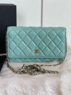 Authentic Chanel Classic Caviar WOC in Tiffany Blue GHW