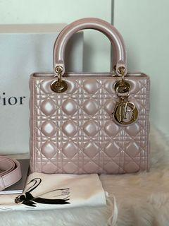 Authentic Christian Dior Lady Dior Medium in Lotus Pink Pearl CGHW
