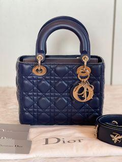 Authentic Christian Dior My ABC Lady Dior Small in Navy Blue GHW