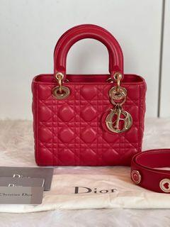 Authentic Christian Dior My ABC Lady Dior Small in Red GHW