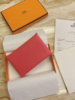 愛馬仕粉紅色calvi 卡夾