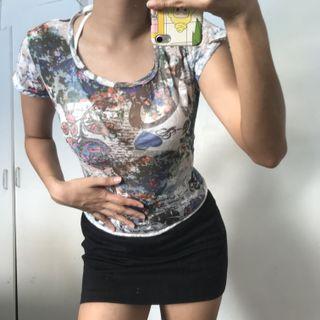 Emo Skater Graphic Sheer Cotton T Shirt