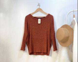 Forever 21 rust knitted pullover