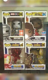 [FREE LBC COP DELIVERY] Cull Obsidian, Okoye, Red Chrome & Iron Man Mark 1 Marvel Funko Pop Bundle