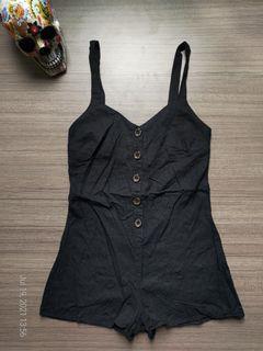 GLASSONS Black Buttondown Linen Romper