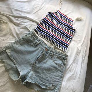 H&M美式條紋小背心+淺藍牛仔短褲