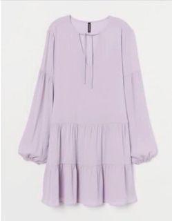 H&M 粉紫色長袖上衣 蛋糕裙襬 XXS