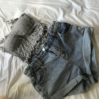 Irisgarden平口小背心+超顯瘦高腰牛仔短褲