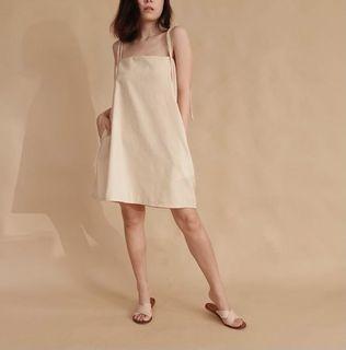 Linen Mini Dress in Sand