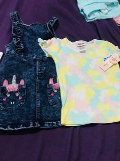 Little lass denim jumper and shirt set