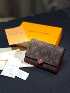 近全新現貨Louis Vuitton LV Flore玫紅色 皮夾短夾