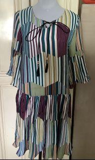 Multicolored Stripes Chiffon Dress