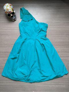 PROMOD Teal Asymmetrical Bow Dress
