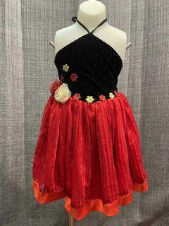 Red and black summer dress