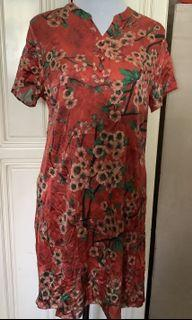 Silkish Red Floral Dress
