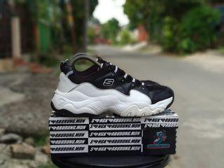 Skechers Shoes White Mid Black SN52685 Leather 95% With Replace Box