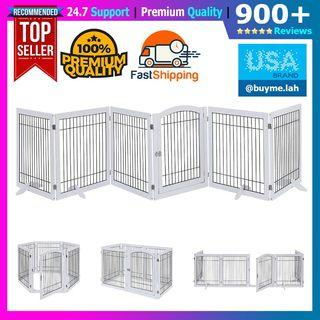 unipaws Pet Playpen with Wood and Wire, 6 Panels Extra Wide Freestanding Walk Through Dog Gate with 4 Support Feet, Foldable Stairs Barrier Pet Exercise Pen for Dogs Cats Pets, White