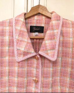 Vintage 小香風西裝外套 短袖 貴婦 優雅 滾邊 金釦 粉色格紋 格子 春季 古著 復古 短版
