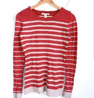 100% Original! Classic Banana Republic Red and Cream Striped Knit Sweater