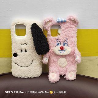 107*手機保護套毛球史努比/粉色熊熊 IPHONE 11 12