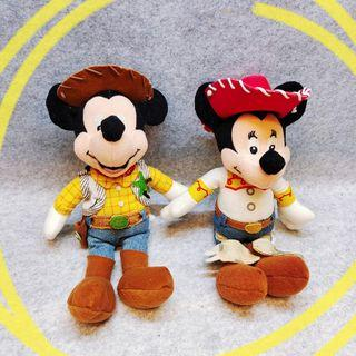 2隻一起 美國 迪士尼 米奇 米老鼠 米妮 玩具總動員 胡迪 翠絲 變裝 絕版 限定 玩偶 娃娃 公仔 布偶 毛絨 玩具