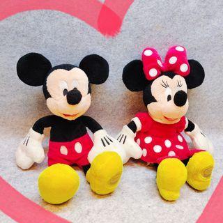 2隻一起 迪士尼 store 米奇 米老鼠 米妮 絕版 限定 經典款 玩偶 娃娃 公仔 布偶 毛絨 玩具 正版
