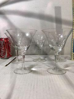 5 pcs vintage 12.5 cm Cocktail Glass Etched Leaves Design