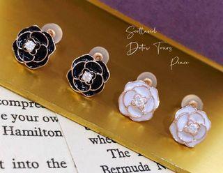 山茶花琺瑯耳環