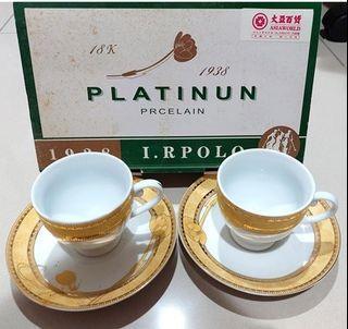 大亞百貨 1938 I.RPOLO PLATINUN 對杯 水杯 馬克杯 咖啡杯 陶瓷杯 下午茶杯 金色 金杯