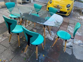 大慶二手家具 玻璃木腳一桌六椅組/休閒桌/餐廳桌/戶外桌/簡餐桌/方桌/餐桌椅/圓桌/餐椅