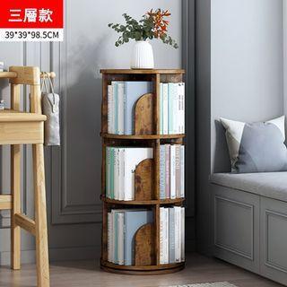 免運~復古木紋三層旋轉書架  書櫃  置物架  收納架  可360°旋轉