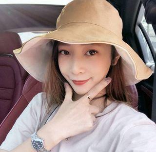 【鬼夢網生活館】韓國小姐純棉雙面大帽沿漁夫帽 A55