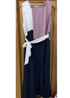 正韓 balen 拼接 拼色 裙擺壓百摺 有綁帶 洋裝 長洋 #集氣
