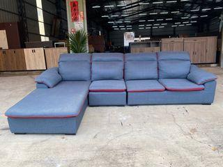 大慶二手家具 藍色四人座棉麻布L型沙發組/客廳沙發/辦公沙發/皮沙發/防貓抓皮