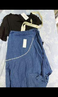 深藍色a字長裙+黑色上衣