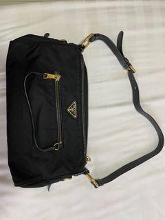 Authentic Prada black tessuto gold hardware
