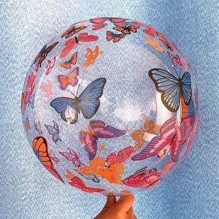 Butterflies Bobo Balloon Bubble Transparent Happy Birthday Girl Baby Pink Blue Christening